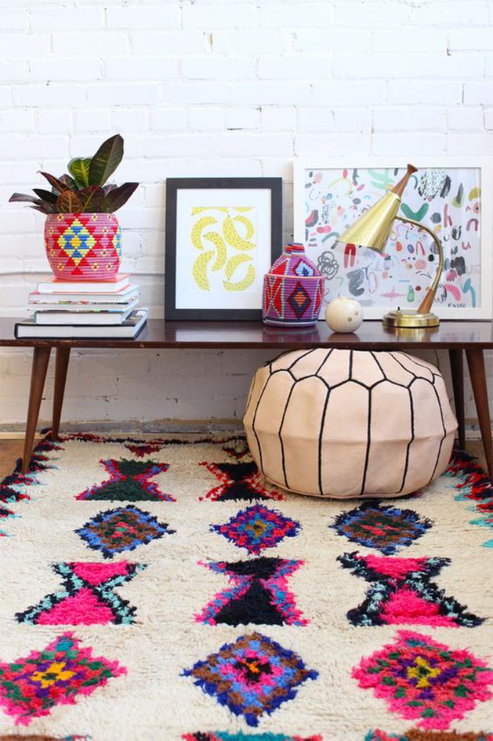 tapis-marocain-en-laine-cache-pot-multicolore