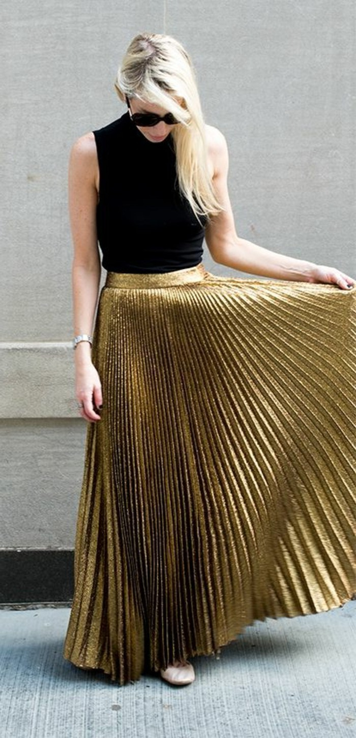 0-joli-jupe-longue-plissée-tissu-en-or-femme-mode-tendances-pour-2016