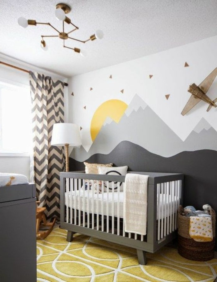 80 astuces pour bien marier les couleurs dans une chambre d enfant for Chambre garcon jaune et grise