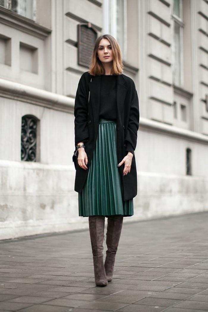 0-jupes-mi-longues-couleur-vert-foncé-jupe-longue-plissée-vert-foncé-mode-femme
