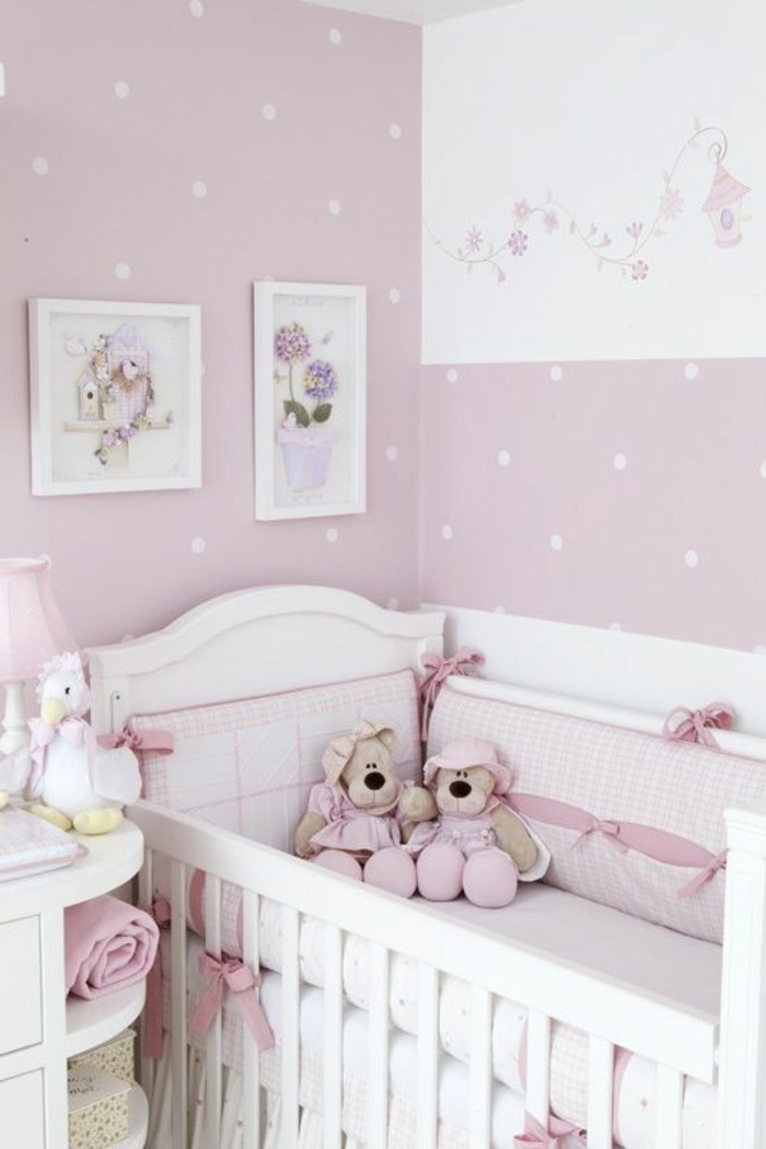 Chambre bb fille rose for Chambre de bb fille dcoration