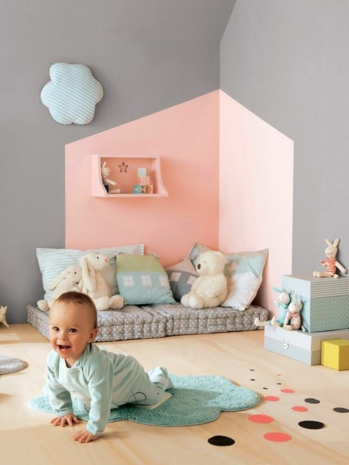 Papier Peint Chambre Bébé : deco chambre bebe, murs doubles couleurs chambre bebe garçon