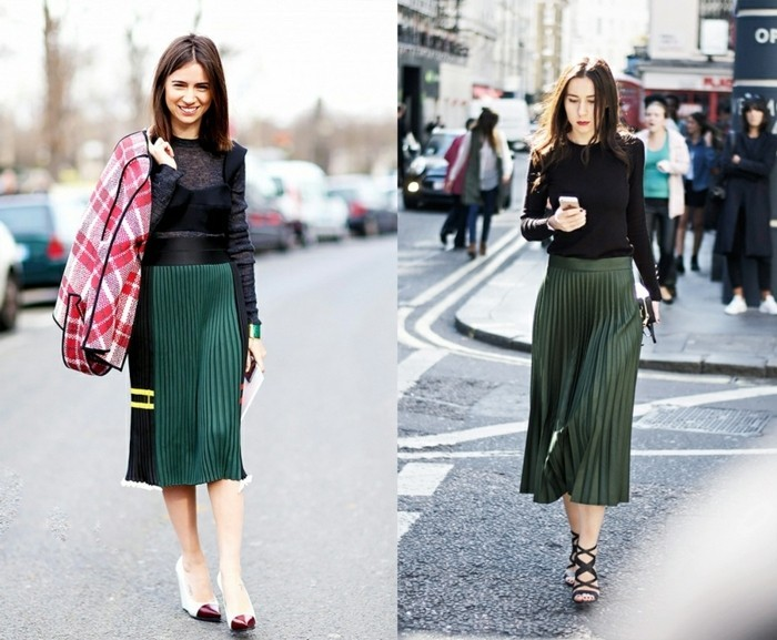 000-jolie-jupe-mi-longue-plissée-de-couleur-vert-foncé-sandales-noires-demme