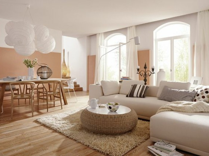 Quelle couleur pour un salon 80 id es en photos for Decoration salon blanc beige taupe