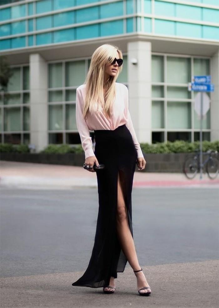 Belle-tenue-de-jour-jupe-longue-fendue-élégante-en-noir-et-blanc