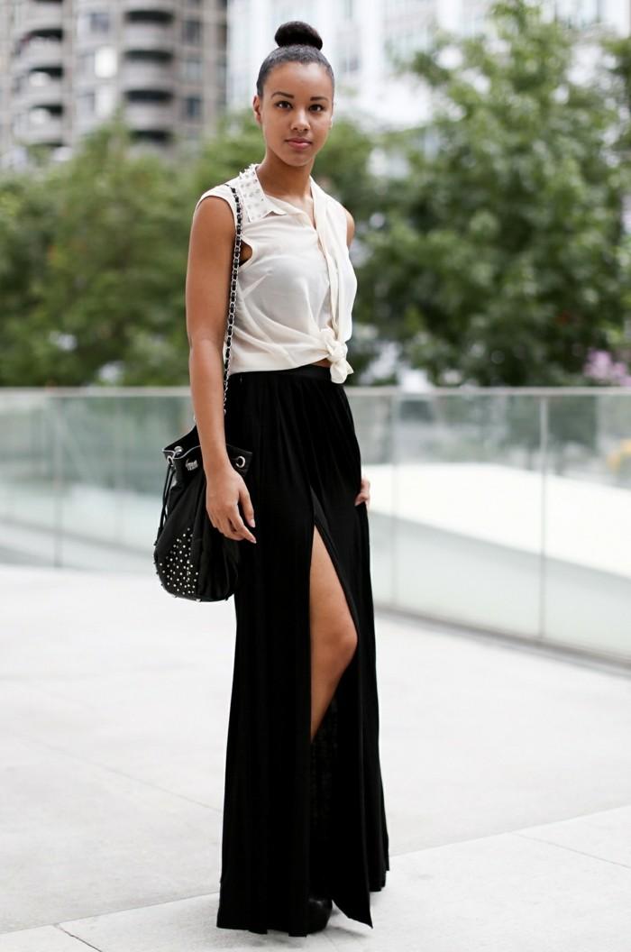 Formidable-idee-la-jupe-en-jean-longue-blanc-top-jupe-noire