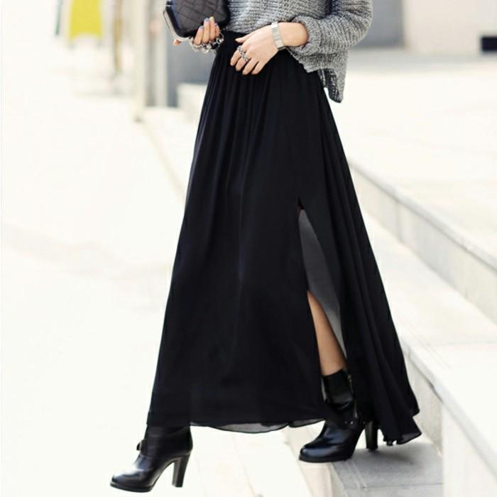 Formidable-idee-la-jupe-en-jean-longue-noir--et-pull