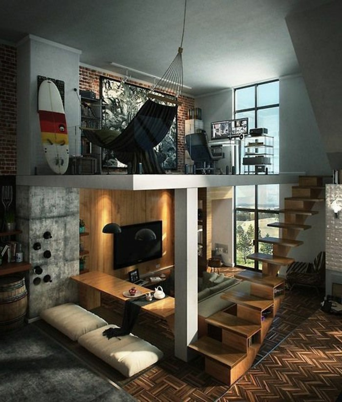 aménagement-petit-salon-sol-en-parquet-meubles-salon-chic-meubles-d-interieur