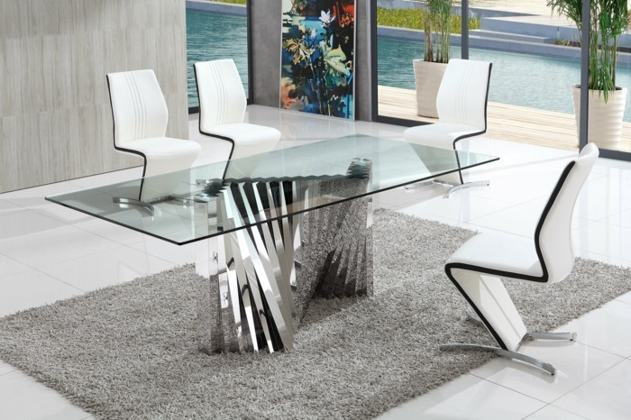 Table de cuisine ronde en verre table cuisine gaz u2013 for Table salle a manger en verre design ronde