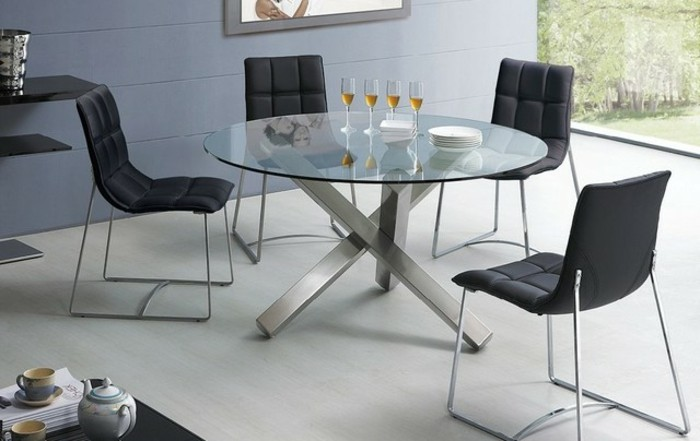 aménagement-table-ronde-verre-cuisine-ouverte-table-ronde-avec-rallonge-beau-chaises