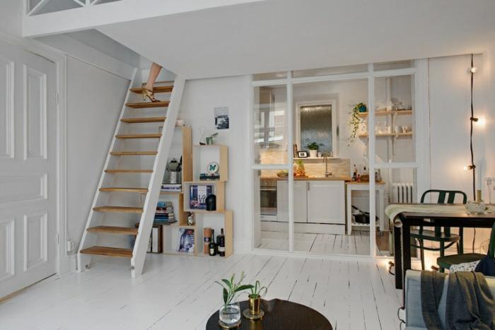 aménager-un-studio-décoration-des-petits-espaces-studio-à-deux-niveaux