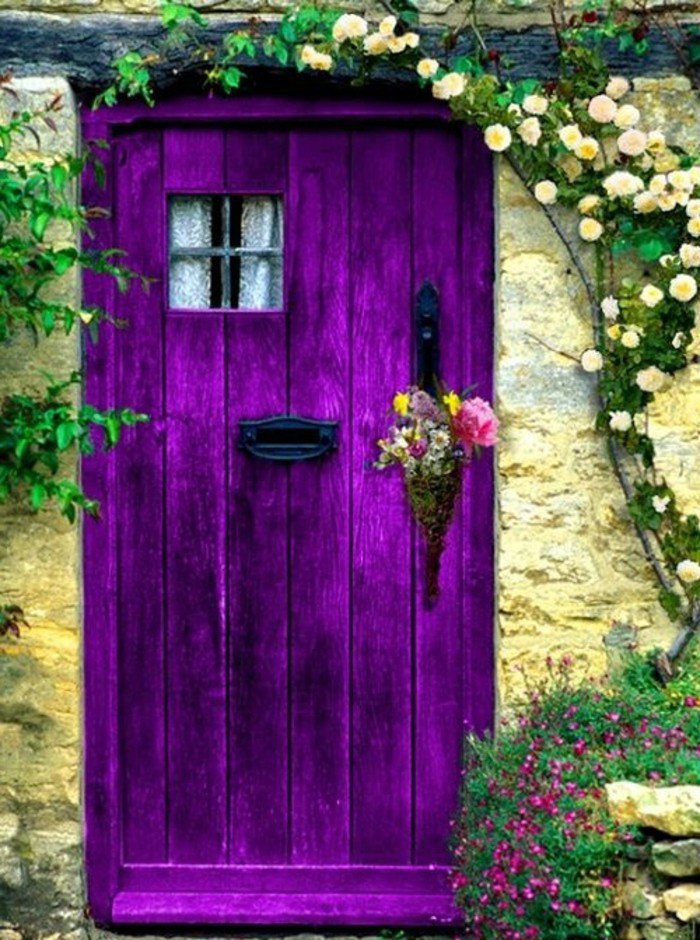 belle-fleur-blanche-et-fleur-violette-bicoleur-cool-idée-fleurs-à-offri-porte-decoree