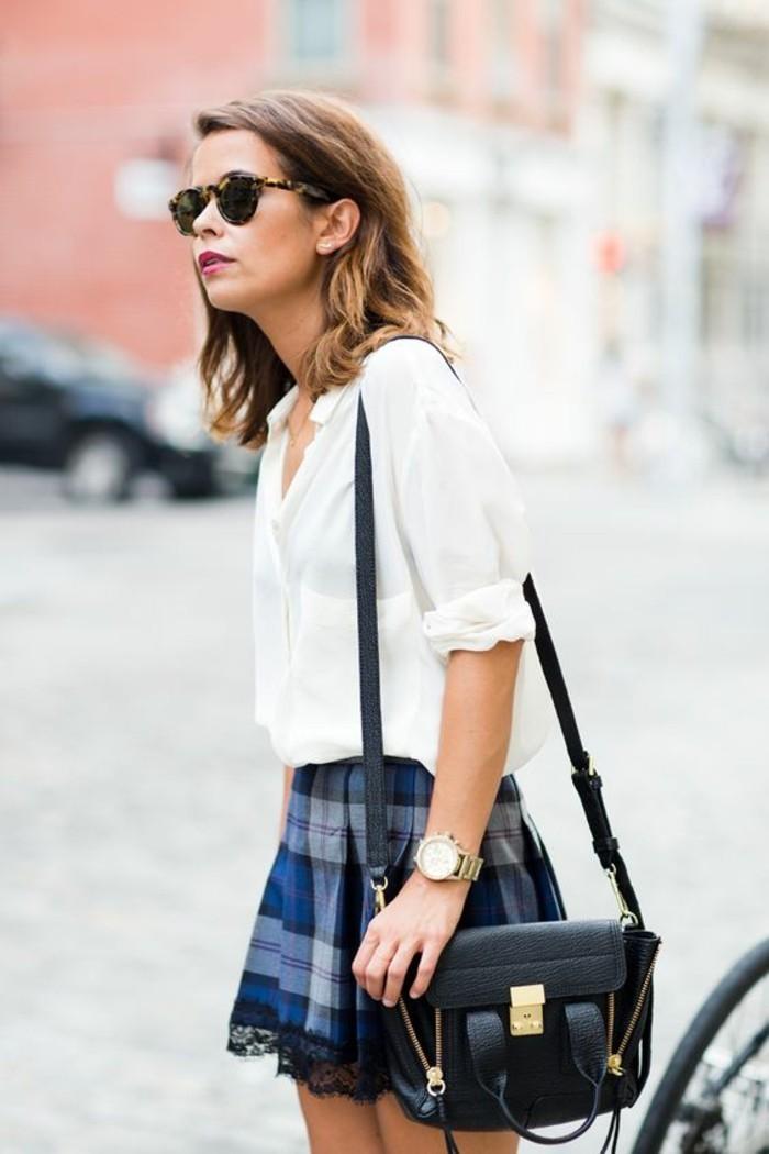 belle-jupe-jaune-short-femme-pas-cher-beauté-femme-stylée-a-carreaux-chemise-blanche
