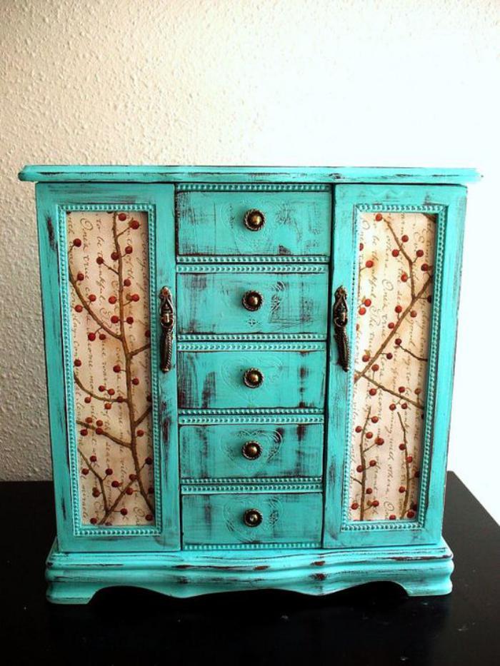 boite-à-bijoux-en-bois-turquois-cinq-tiroirs