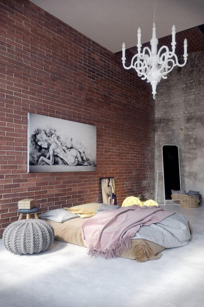briques-de-parement-chambre-à-coucher-chic-industriel