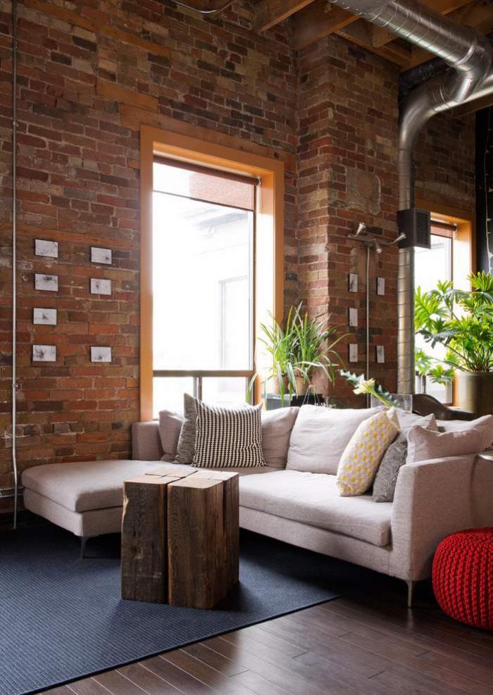 Les briques de parement et les briques apparentes int rieurs esprit loft - Deco mur brique salon ...