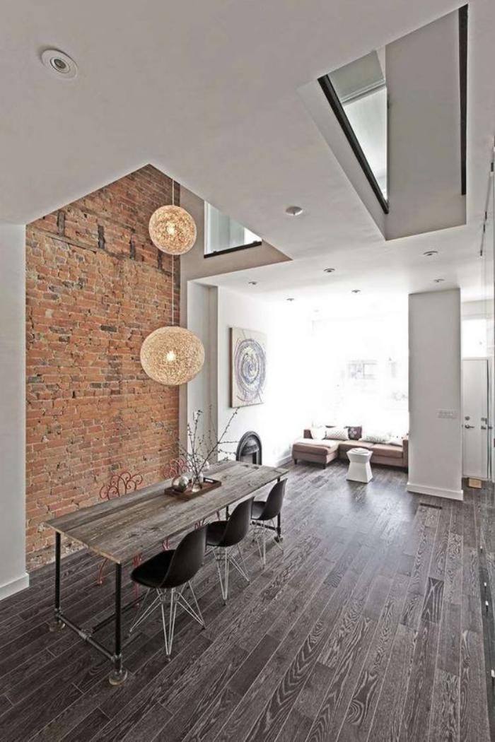 briques-de-parement-salle-de-déjeuner-moderne-intérieur-loft-à-haut-plafond