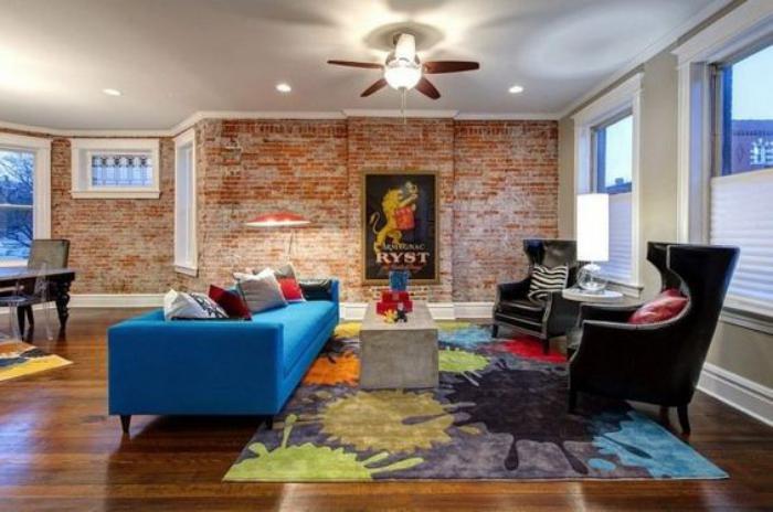 briques-de-parement-salon-original-tapis-coloré-design-contemporain