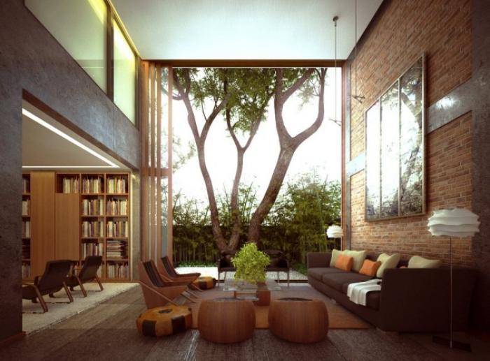 briques-de-parement-salon-ouvert-donnant-vers-le-jardin