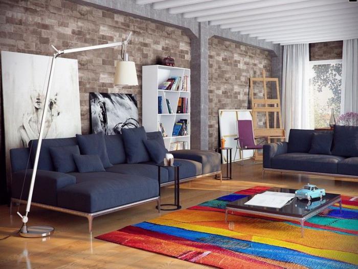 briques-de-parement-table-basse-design-grands-canapés