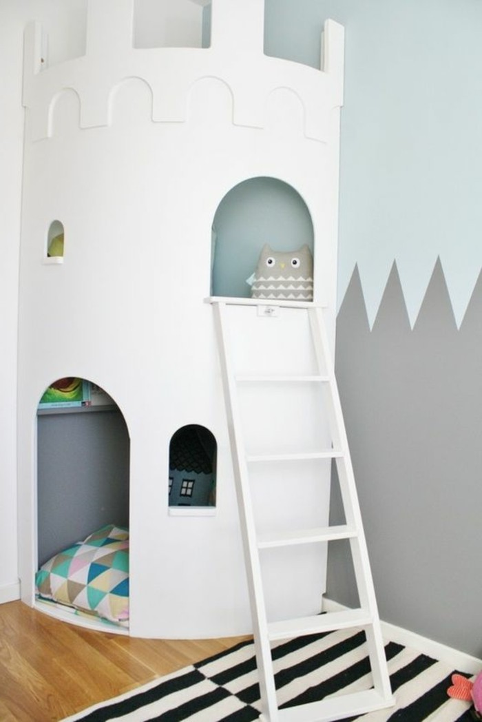 chambre-d-enfant-peindre-une-pièce-en-deux-couleurs-idee-couleur-peinture-murale