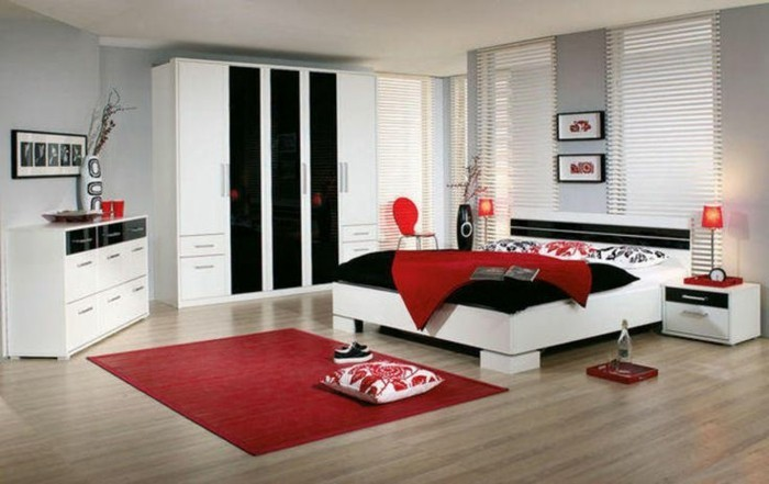 chambre rouge et blanc id es int ressantes pour votre. Black Bedroom Furniture Sets. Home Design Ideas