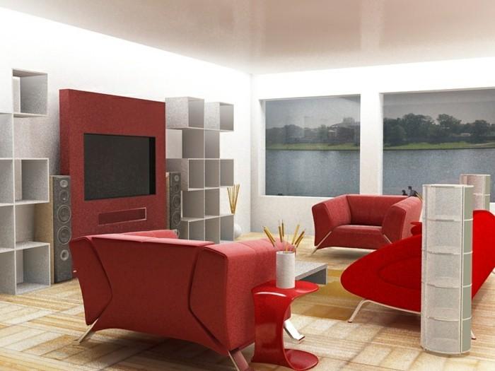 chambre-rouge-et-blanc-deco-chambre-adulte-cuisine-rouge-et-grise