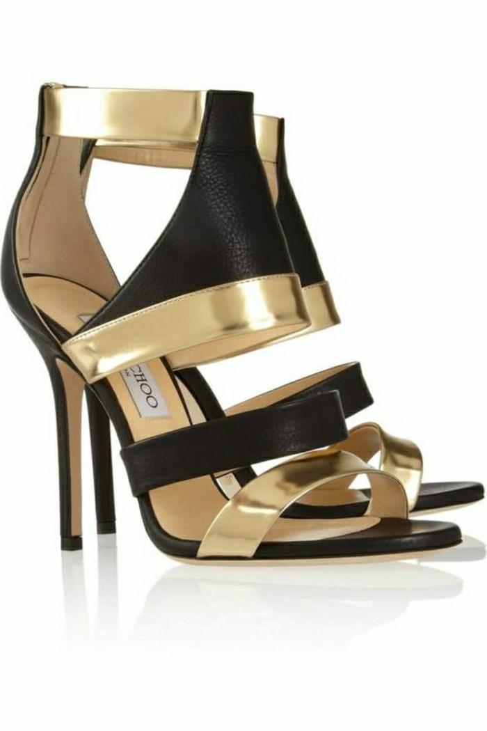 chaussures-d-ete-femme-en-cuir-noir-et-accents-dorés