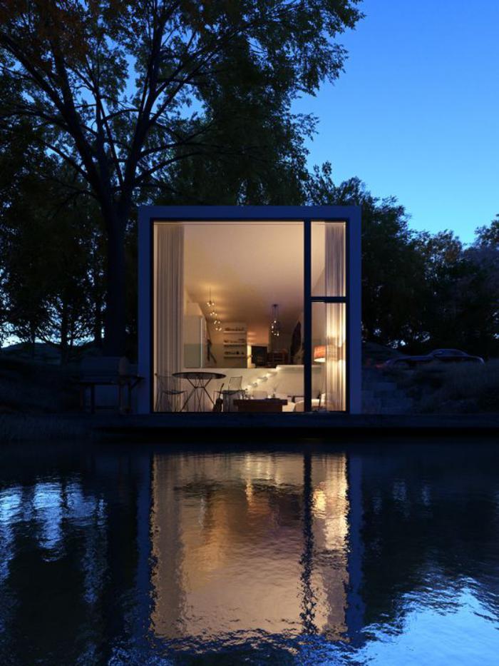 construire-sa-maison-container-maison-conteneur-au-bord-d'un-lac