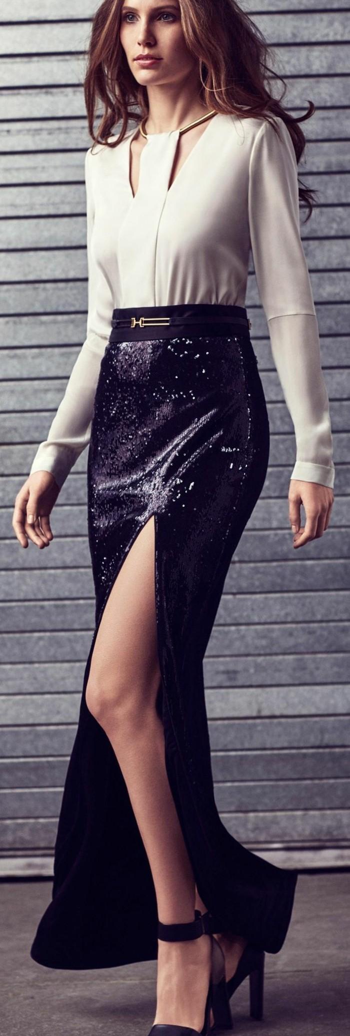 cool-idée-quoi-porter-jupe-longue-noire-belle-en-noir-et-blanc
