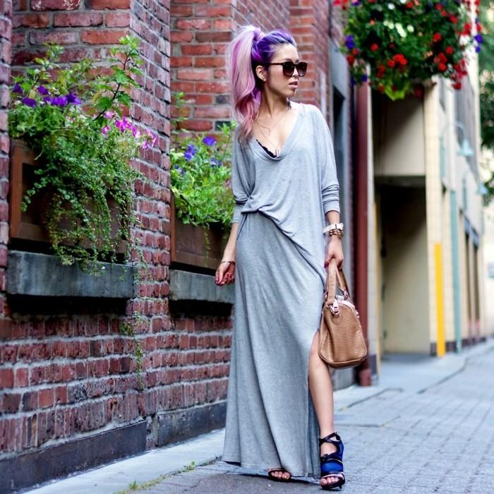 cool-idée-quoi-porter-jupe-longue-noire-en-tendance-cheveux-violet-et-rose-ombré