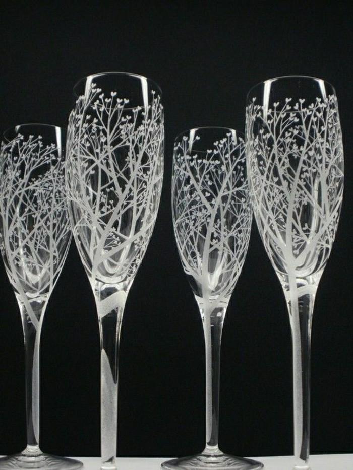 coupes-de-champagne-boisson-luxe-idée-originale-fête-arbres