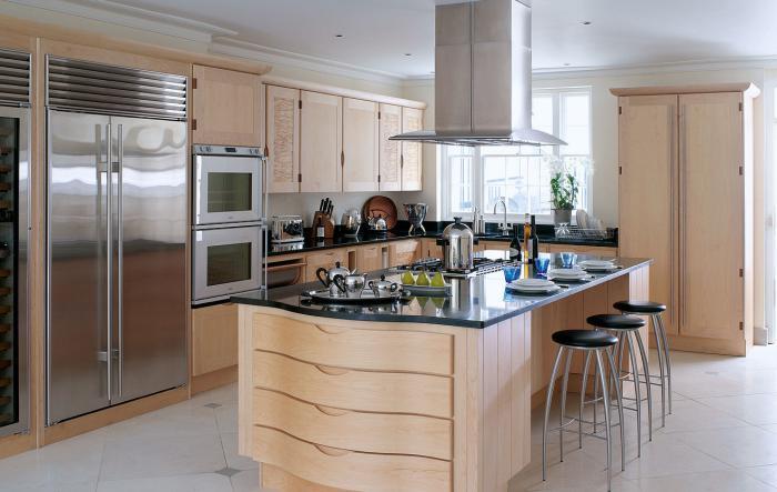 cuisine-avec-ilot-aménagement-de-cuisine-chic-en-beige