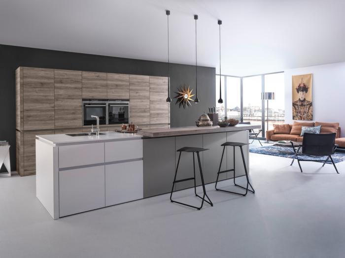 cuisine-avec-ilot-espace-ouvert-décoration-cuisine-contemporaine