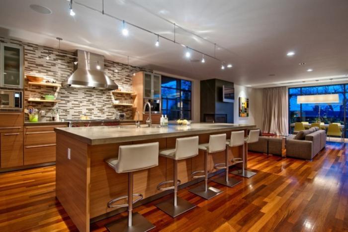 La cuisine avec ilot cuisine bien structur e et for Cuisine ouverte avec ilot bar