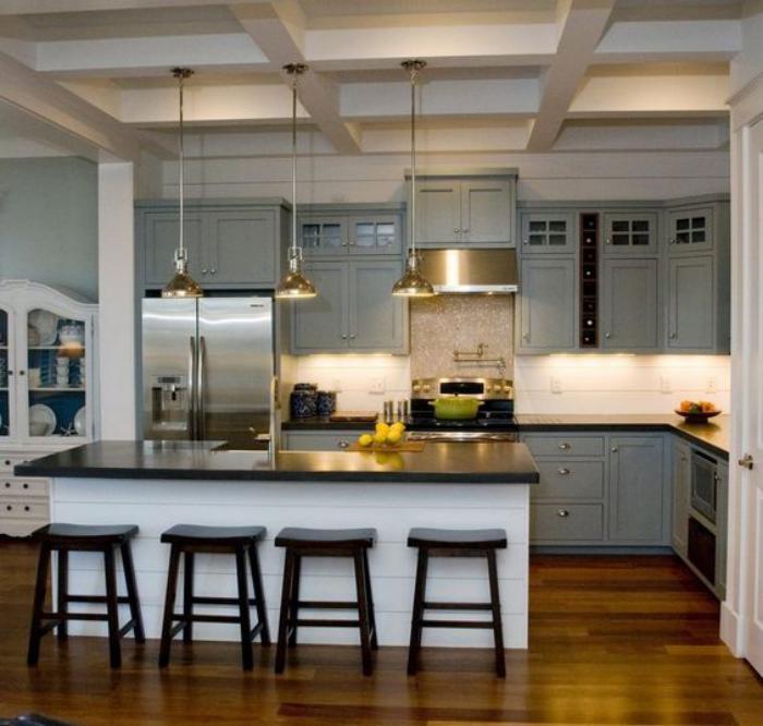 ilot central cuisine avec cave a vin. Black Bedroom Furniture Sets. Home Design Ideas