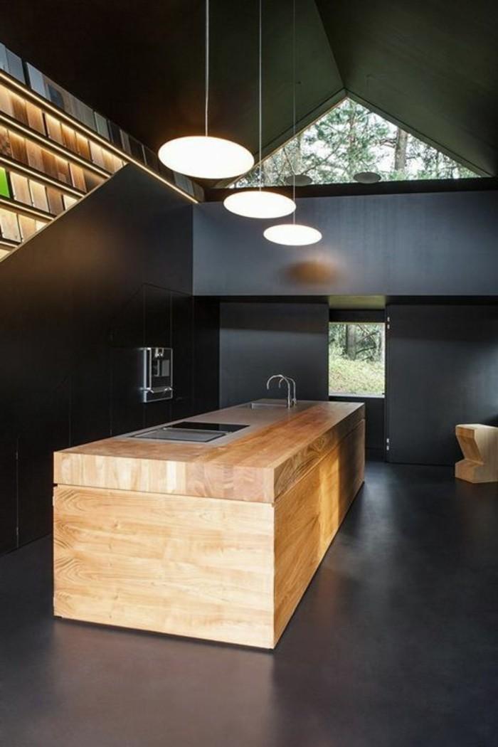 cuisine-noire-lustre-de-cuisine-lampadaire-leroy-merlin-dans-la-cuisine-noire