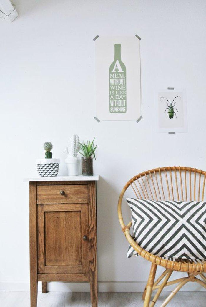 déco-salle-de-séjour-fauteuil-rotin-ikea-idee-exterieur-balcon-terrasse-idee-mur-blanc