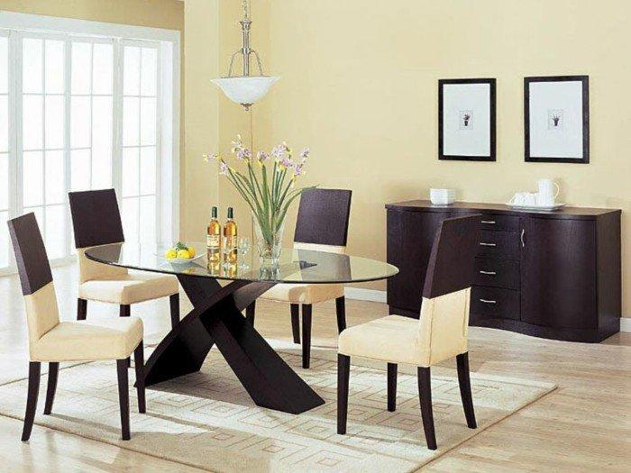 décoration-table-ceramique-table-avec-rallonge-cool-idée-table-ovale-verre-chaise-blanc-et-bois