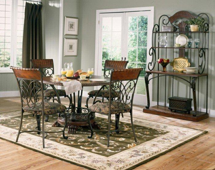décoration-table-ceramique-table-avec-rallonge-cool-idée-table-salle-rustique-vintage