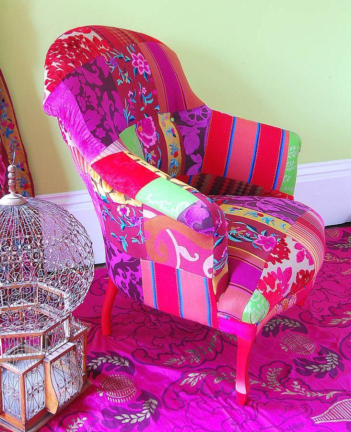 fauteuil-patchwork-aménagement-style-boho-chic