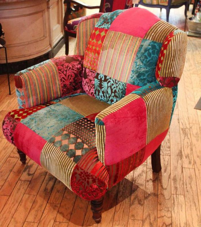 fauteuil-patchwork-boho-chic-à-la-maison