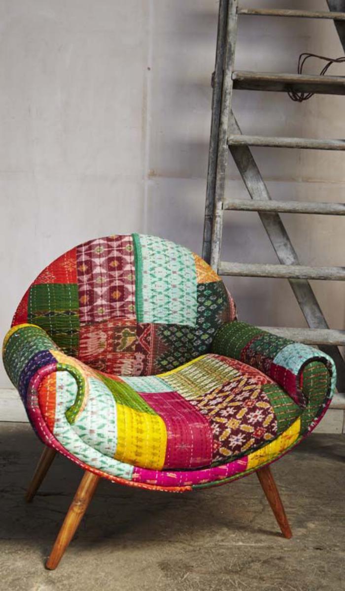 fauteuil-patchwork-combinaison-de-textiles-unique