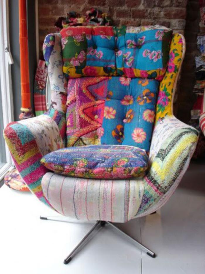 Le fauteuil patchwork une pi ce boho chic pour faire for Ohrensessel jeans