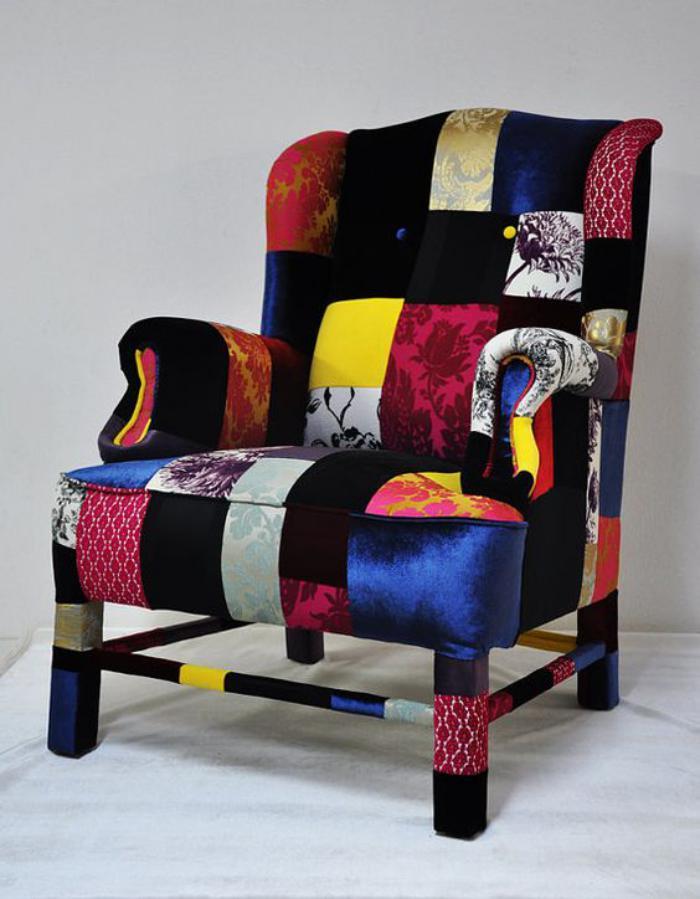 Le fauteuil patchwork une pi ce boho chic pour faire votre int rieur vibrer - Tissus bohemes colores ...