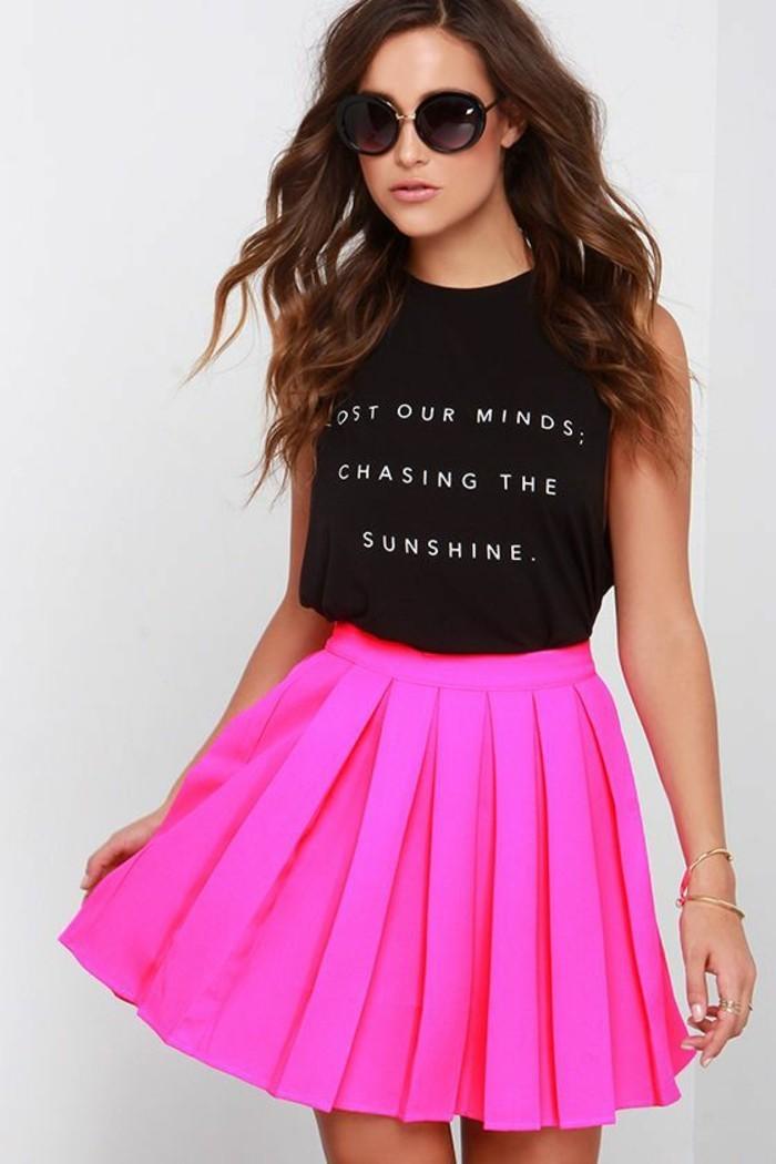 formidable-jupe-longue-blanche-jupe-trapeze-robe-syle-élégante-rose-neon