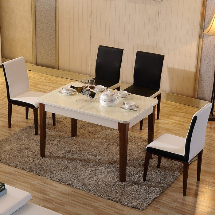idée-table-à-manger-design-salle-à-manger-bien-décorée-ambiance-blanc-et-bois-cuisine
