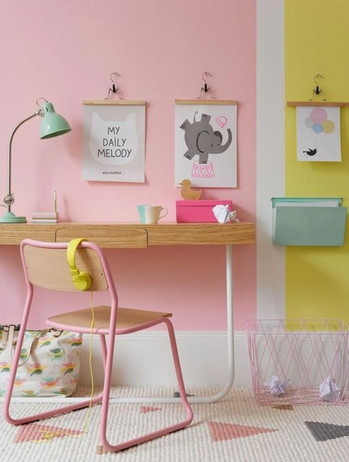 idee-couleur-peinture-chambre-murs-roses-pales-chambre-d-enfant-colorée