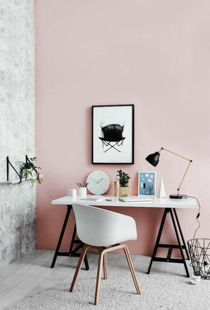 idee-peinture-glycéro-rose-pale-meubles-murs-roses-pales-meubles-bureua