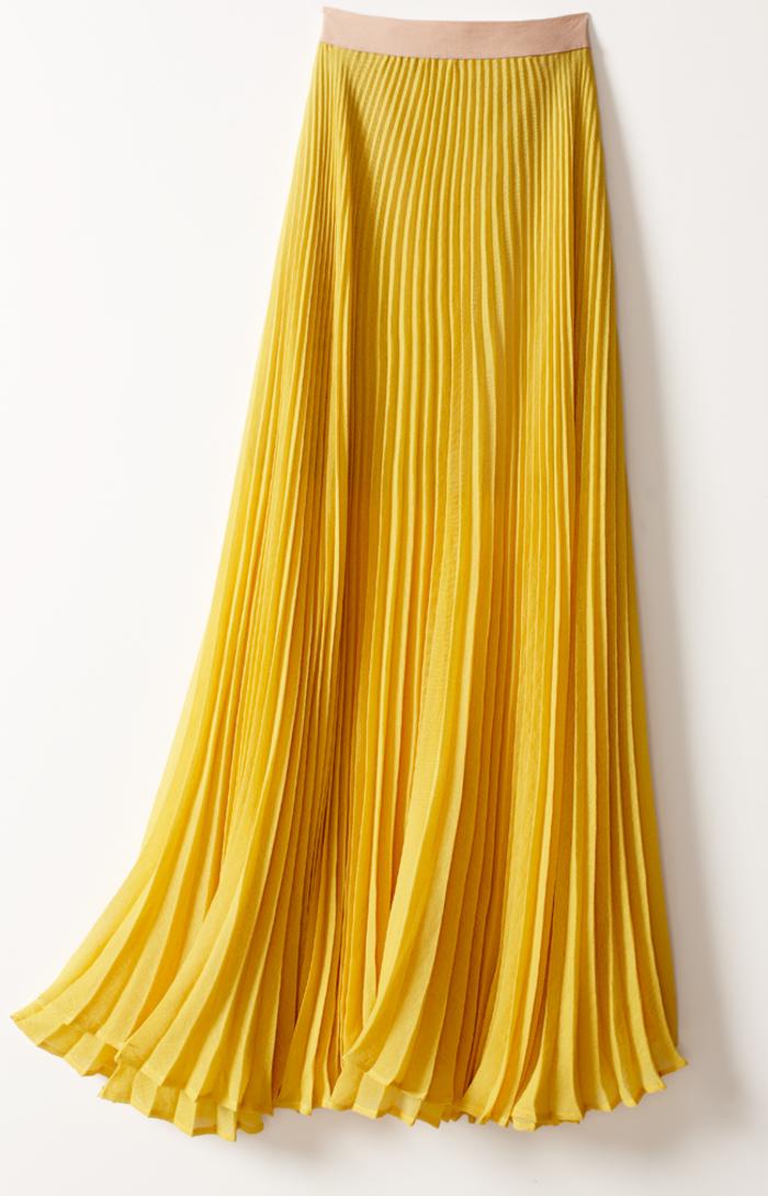 jolie-jupe-jaune-plissée-jupes-mi-longues-jaunes-jupe-jaune-plissée